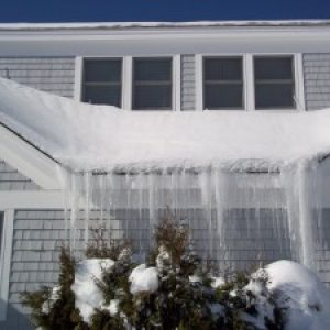 Icicles on Home Roof