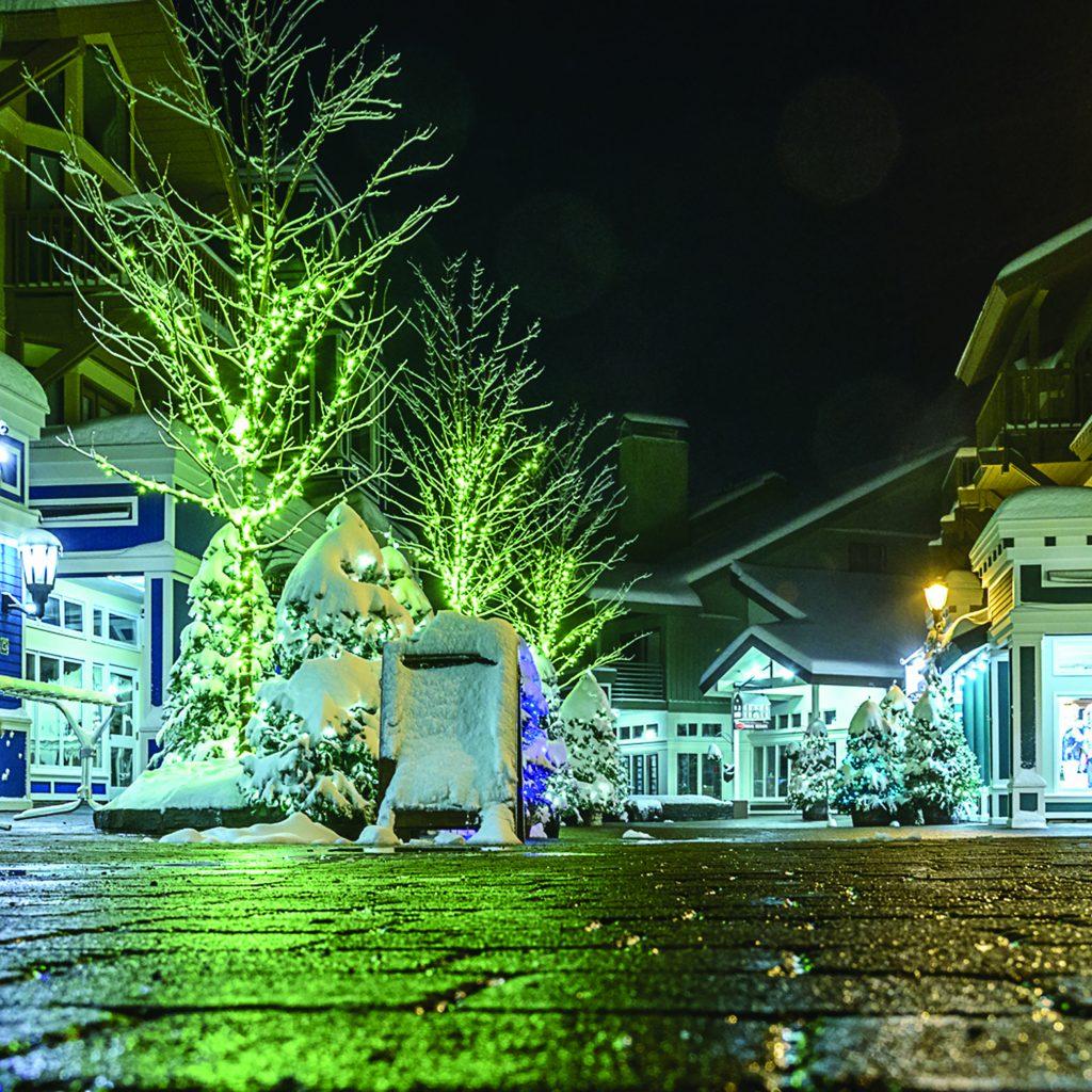 stratton village at night