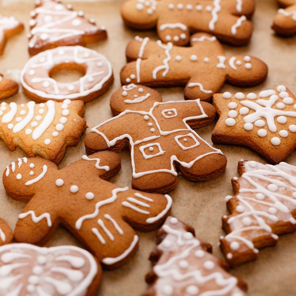 Сhristmas gingerbread man on baking sheet