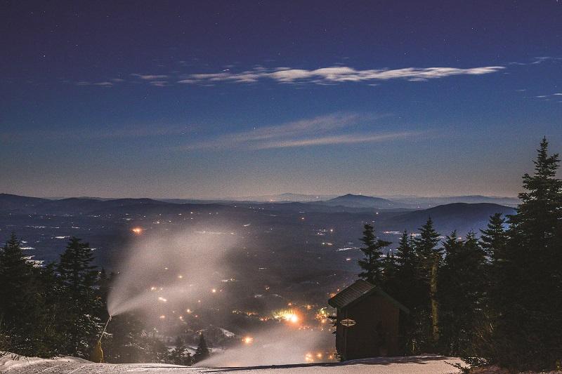 ski resort grooming at night