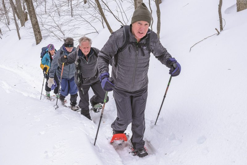group snowshoeing