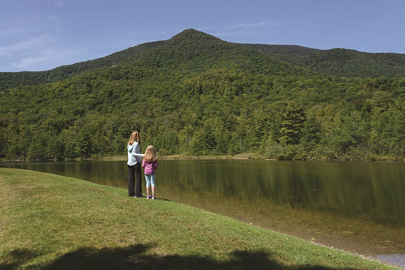 mother and daughter at equinox pond manchester vermont