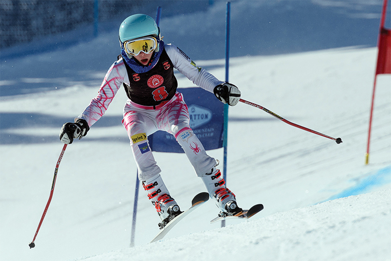 young ski racer at stratton mountain