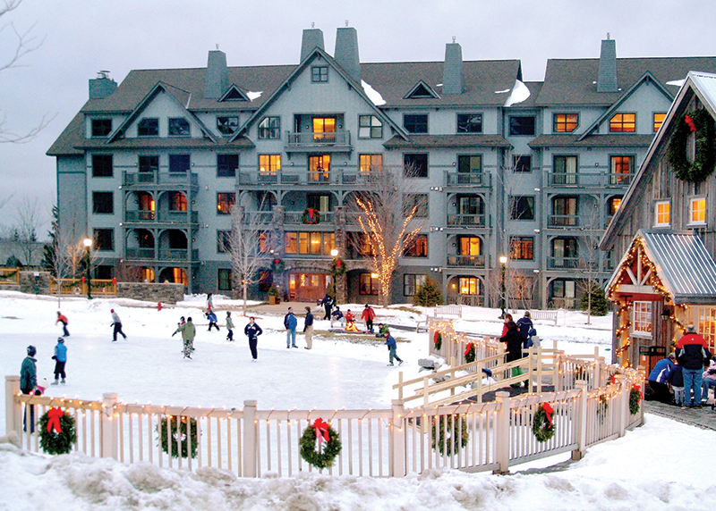 ice skating at mill house pond commons stratton mountain vermont